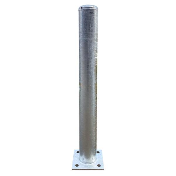 Aanrijdpaal ø 114 mm x 1000 mm met voetplaat - verzinkt