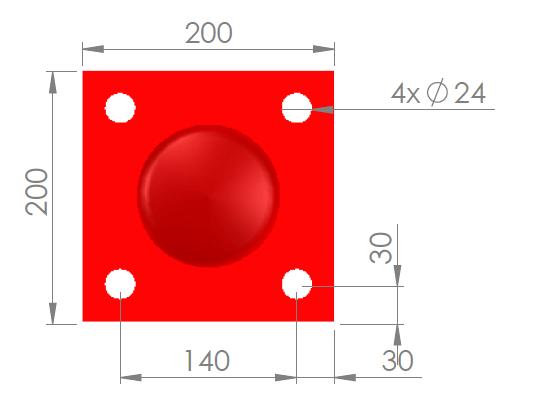 Voetplaat 114 rood